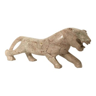 Pink Marble Stone Sculpture Lion For Sale