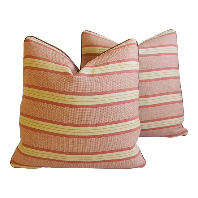 """Rogers & Goffigon & Leather Feather/Down Pillows 20"""" Square - Pair - Image 1 of 13"""