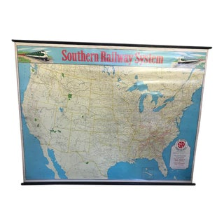 Pre-1960 Southern Railway System Wall Map