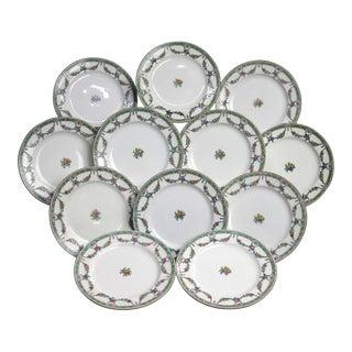 English Mintons China Floral Garland Porcelain Salad Plates - Set of 12 For Sale