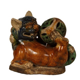 Vintage Chinese Ceramic Glaze Foo Dog Playing Ball For Sale