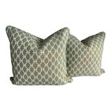 Image of Contemporary Scalamandre Trellis Green Weave Pillows - a Pair For Sale
