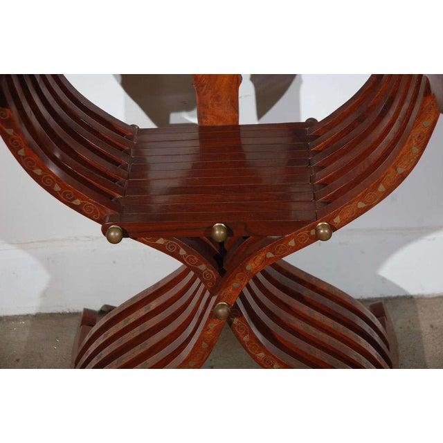 Mid 20th Century Moorish Syrian Brass Inlaid Armchair For Sale - Image 5 of 8