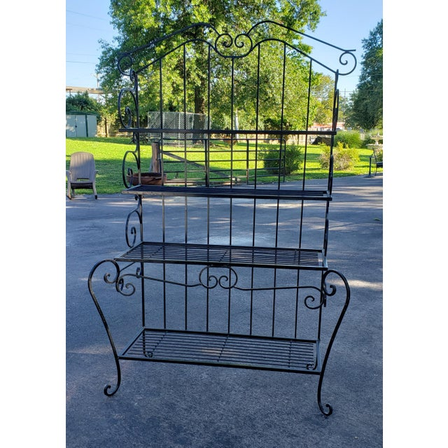 Metal Mid 20th Century Black Wrought Iron Bakers Rack For Sale - Image 7 of 7