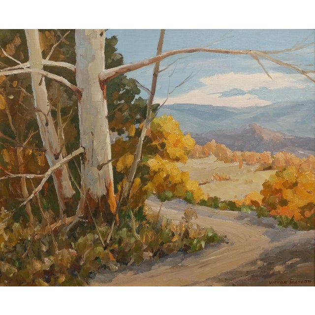 """Arts & Crafts Victor Matson """"Sycamore Trees"""" California Plein Air Landscape Oil Painting For Sale - Image 3 of 10"""