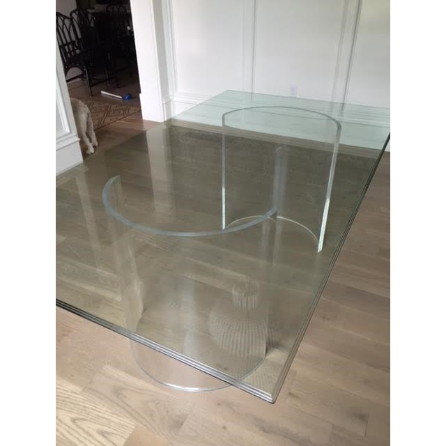 Vintage Lucite Base Dining Table For Sale - Image 5 of 10
