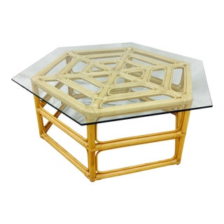 Rattan & Glass Top Coffee Table For Sale