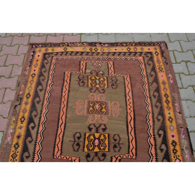 Turkish Hand Woven Kilim Rug - 5′1″ X 12′6″ - Image 6 of 10