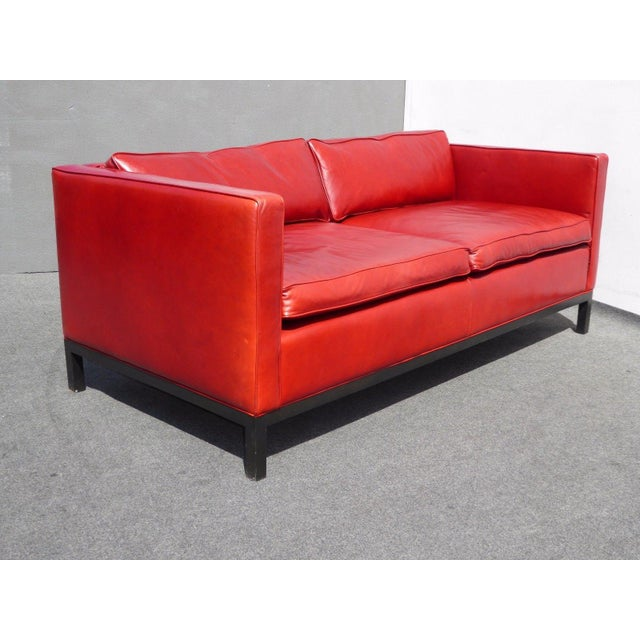 Designer Contemporary Red Leather Sofa - Image 6 of 11