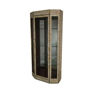 Maitland Smith Tessellated Stone Marble & Brass Curio Display Cabinet For Sale