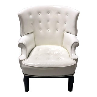 Mid Century White Patent Leather Armchair by Bernhardt Hibriten For Sale