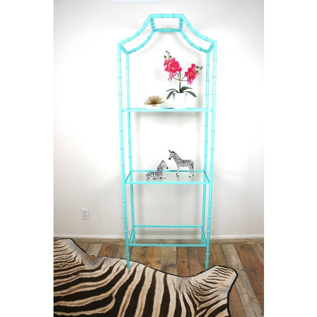 1970s Faux Bamboo Turquoise Etagere Shelf For Sale - Image 5 of 7