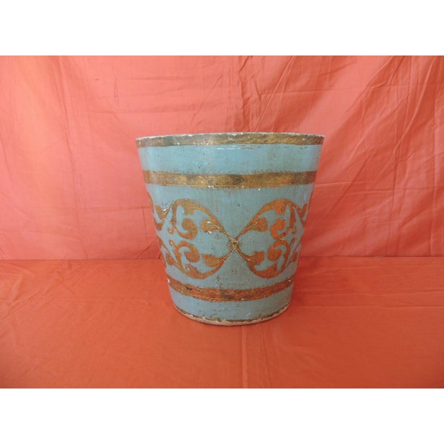 """Vintage Florentine turquoise and gold wastebasket. Some chips on gold in the bottom from aged. Size: 11""""H x 10.3/4""""H."""