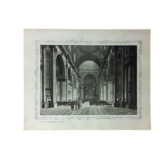 """1906 """"St. Paul's Cathedral - the Nave"""" Famous View of London Print For Sale"""