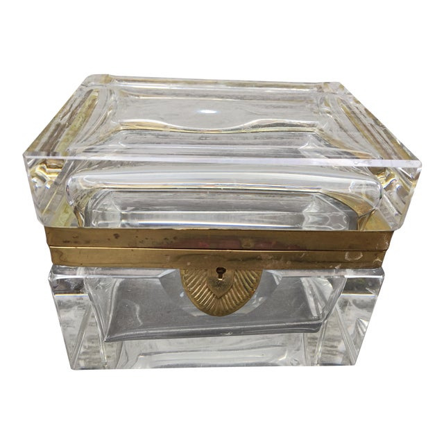 Mid-Century Glass and Brass Box With Key For Sale