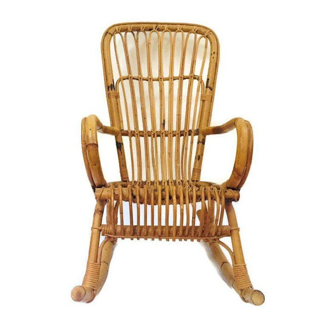 best loved 116d5 f5669 Mid Century Sculpted Bamboo Rocking Chair High Back Franco Albini Style  Rocker