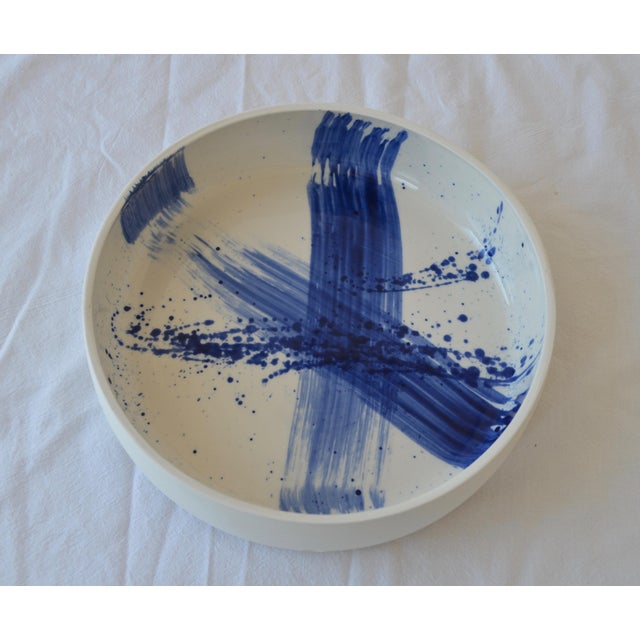 2010s Contemporary Ceramic Utility Bowl With Cobalt Calligraphy For Sale - Image 5 of 5