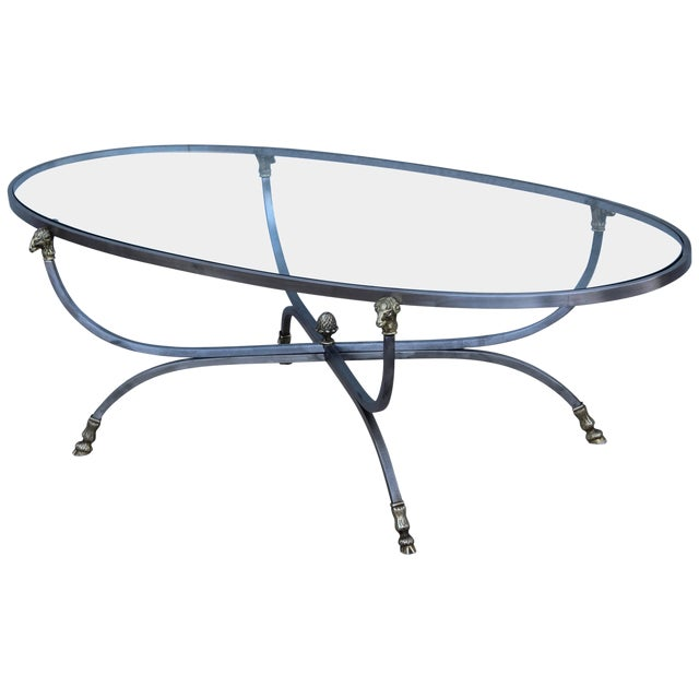 Steel and Brass Rams Head Oval Italian Coffee Table For Sale