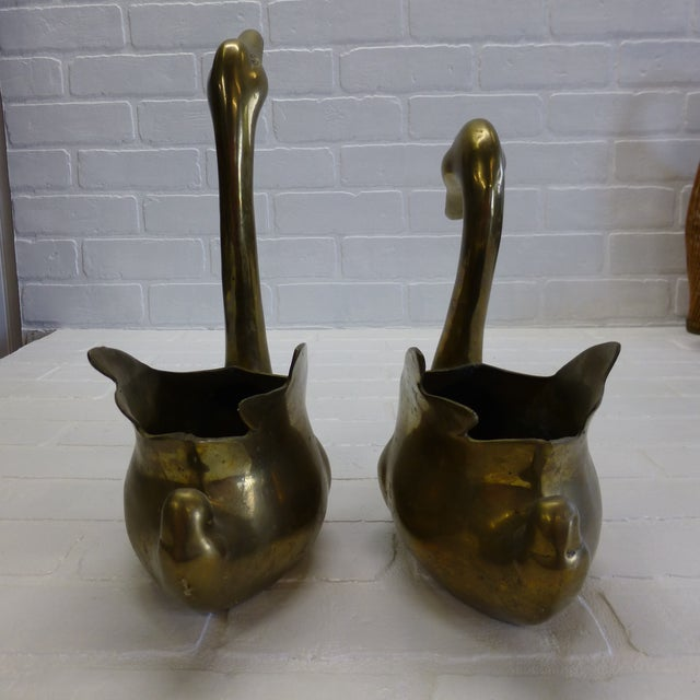 Mid-Century Brass Swan Planters - a Pair For Sale - Image 11 of 12