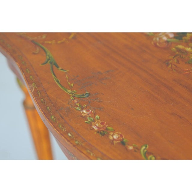Exquisite Hand Painted Satinwood Table For Sale - Image 10 of 10
