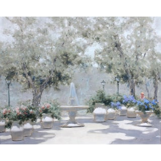 Impressionist Park Scene by Andre Gisson Oil Painting For Sale