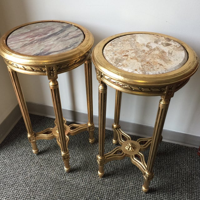 Neoclassical Style Gilt Side Tables - A Pair - Image 4 of 7