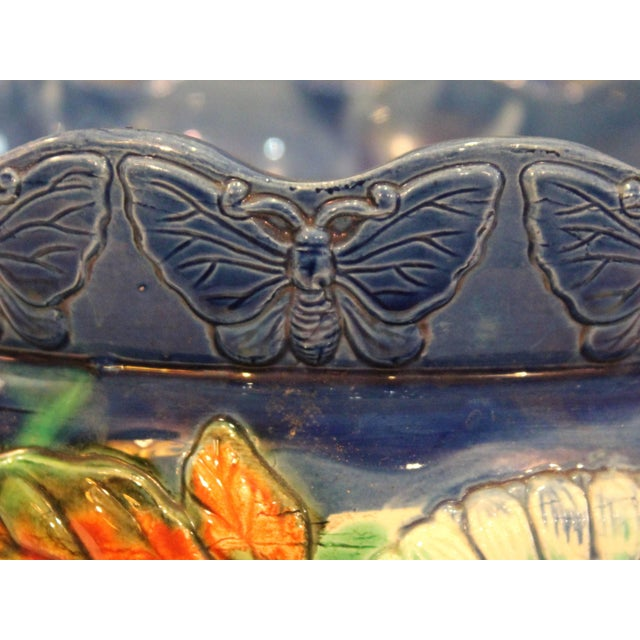 Ceramic Awaji Pottery Jardiniere Applied Butterflies Blossoms Planter For Sale - Image 7 of 9
