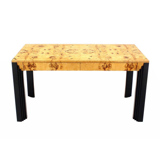 Lacquer Burl Wood Black Lacquer Legs Writing Table or Desk Two Drawers. For Sale - Image 7 of 8