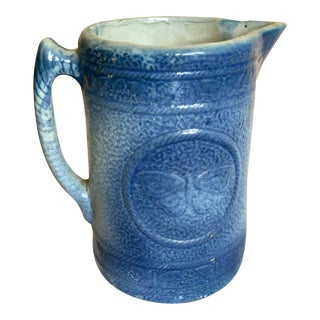 Early 20th Century Blue Decorated Stoneware Pitcher For Sale