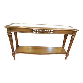 1960s Italian Style Gold Leaf Marble Top Console Table For Sale