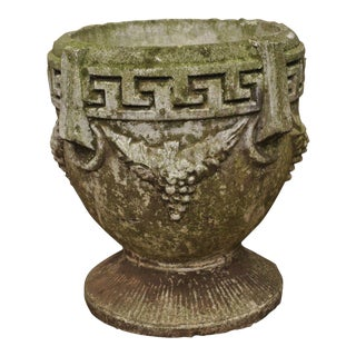 Vintage Greek Key & Grape Vine Greek Classical Concrete Cement Garden Planter For Sale