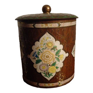 Vintage English Mid Century Modern Floral Lidded Tin Box For Sale