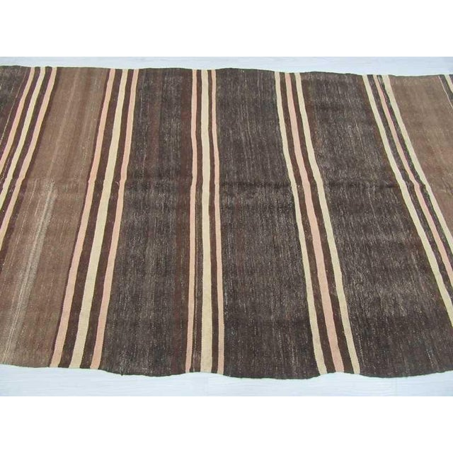 Neutral Striped Turkish Kilim Rug - 5′2″ × 11′6″ For Sale - Image 4 of 6