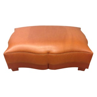 Mimi London Brown Leather Ottoman