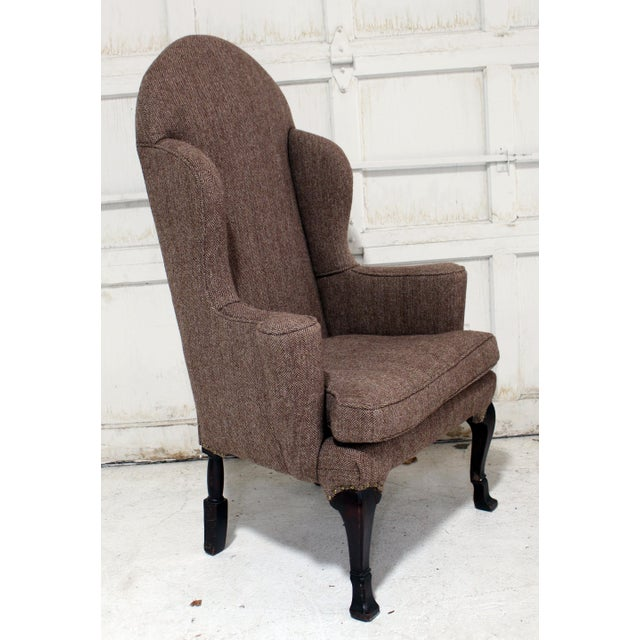 Vintage Wing Chair Reupholstered in Vintage Harris Tweed Fabric For Sale - Image 4 of 11