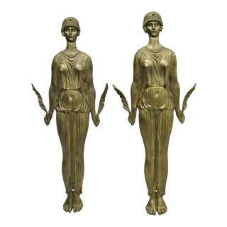 19th Century French Neoclassical Cast Bronze Figural Female Ormolu Furniture Mounts - a Pair For Sale