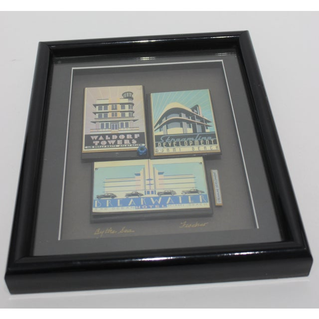 """Paper """"By the Sea"""" Collage Streamline Re-Development of Art Deco Architecture Miami Beach by Fischer For Sale - Image 7 of 11"""
