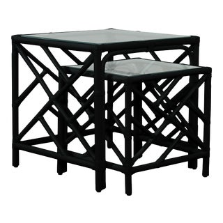 Chippendale Nesting Tables - Black For Sale