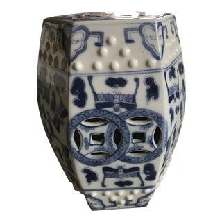 Chinese Luck Blue & White Bats Mini Garden Stool