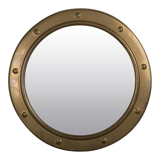 1950s English Vintage Brass Framed Convex Mirror For Sale