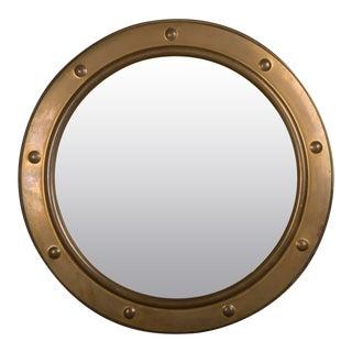 Vintage Brass Framed Convex Mirror, England circa 1950. (15″W x 1″D x 15″H)