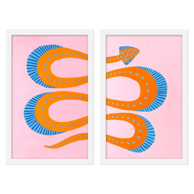"Contemporary Medium ""Razzle the Snake, Set of 2"" Print by Willa Heart, 26"" X 20"" For Sale - Image 3 of 3"