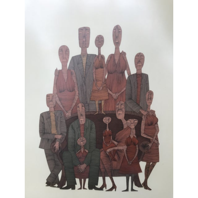 Vintage Mid-Century Abstract Family Portrait Print Block Print Lithograph Signed and Numbered For Sale - Image 6 of 10