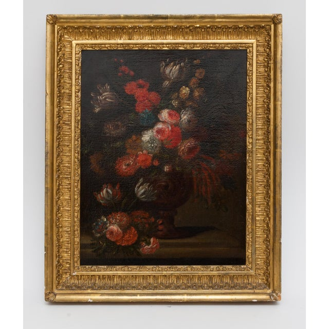 19th Century Floral Still Life Oil Painting in Gold Frame For Sale - Image 9 of 9