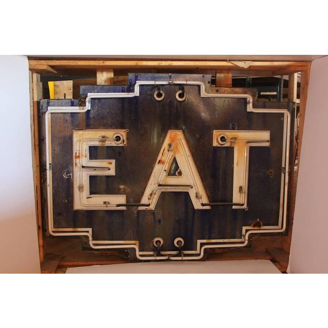 """1930s neon sign """"EAT."""" In working condition. This piece would be a great addition to a kitchenette or kitchen area with a..."""