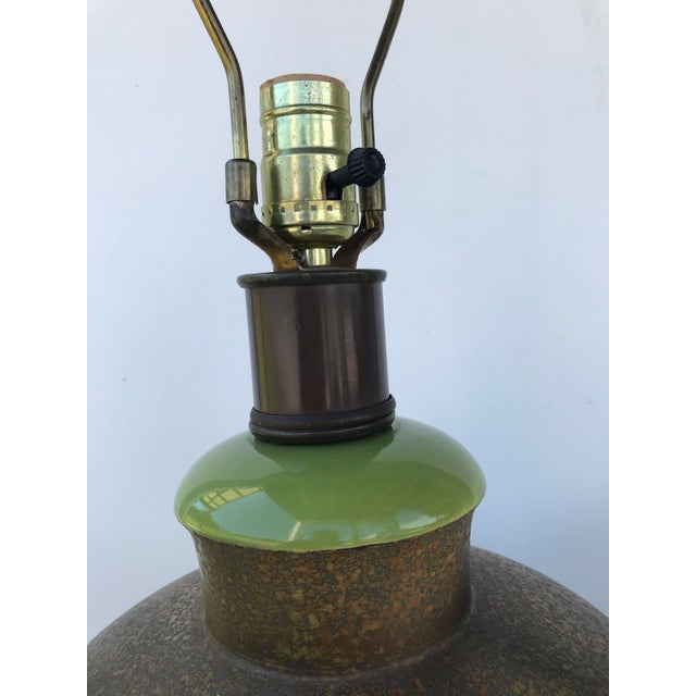 Large Bulbous Green and Bronze Striped Ceramic Lamps - a Pair For Sale - Image 4 of 9