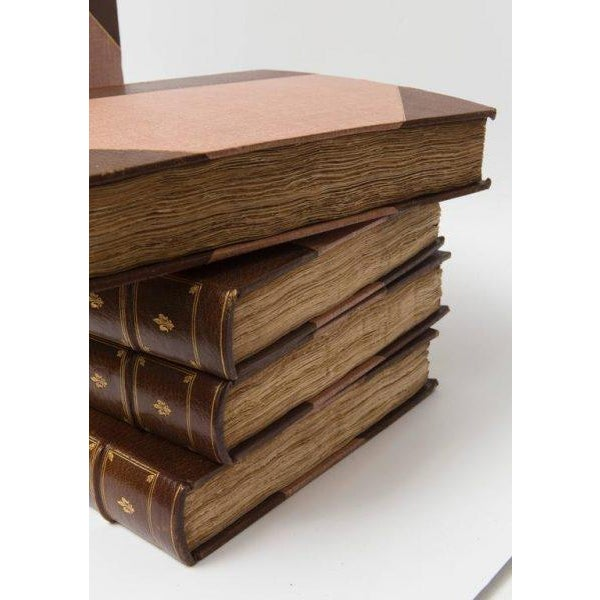 """Leather Eight Volume Set of Leather Bound Books Titled """"Art and Letters"""" From the 19th Century For Sale - Image 7 of 9"""