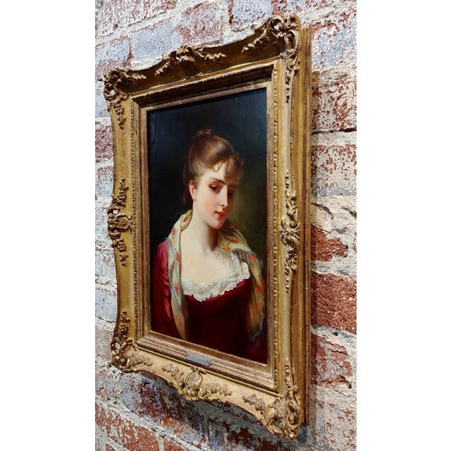 """19th Century Gustave Jean Jacquet """"Portrait of an Elegant Young Lady"""" Oil Painting For Sale - Image 9 of 11"""