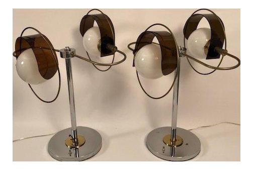 Lucite U0026 Chrome Art Deco Table Lamps   A Pair