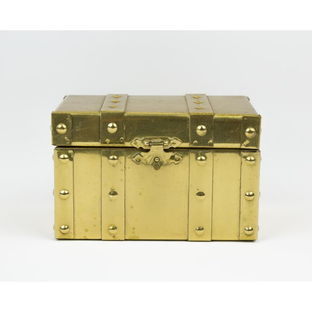 Sarreid Style Miniature Tabletop Brass Trunk For Sale In New York - Image 6 of 12